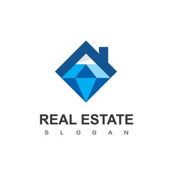 Logo nieruchomości ekskluzywny dom z symbolem diamentu