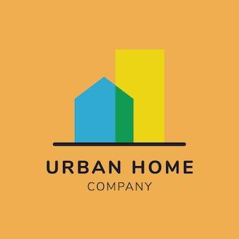 Logo nieruchomości, szablon biznesowy do projektowania marki, tekst firmy miejskiego domu