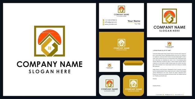 Logo nieruchomości z literą g premium