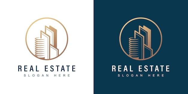 Logo nieruchomości z nowoczesną koncepcją kreatywną