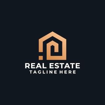 Logo nieruchomości ze złotym monogramem
