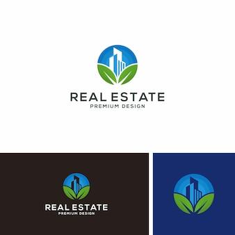 Logo nieruchomości. zielony budynek. logotyp projektu ekologicznego miasta