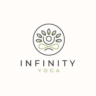Logo nieskończoności jogi z szablonem logo liści.
