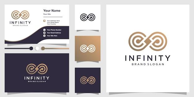 Logo nieskończoności z unikalną koncepcją grafiki liniowej i szablonem projektu wizytówki