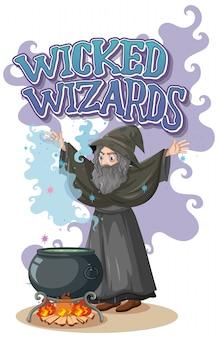 Logo nikczemnych czarodziejów na białym tle