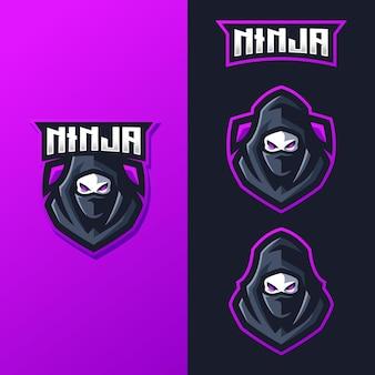 Logo ninja mascot dla zespołu e-sportowego zajmującego się grami sportowymi