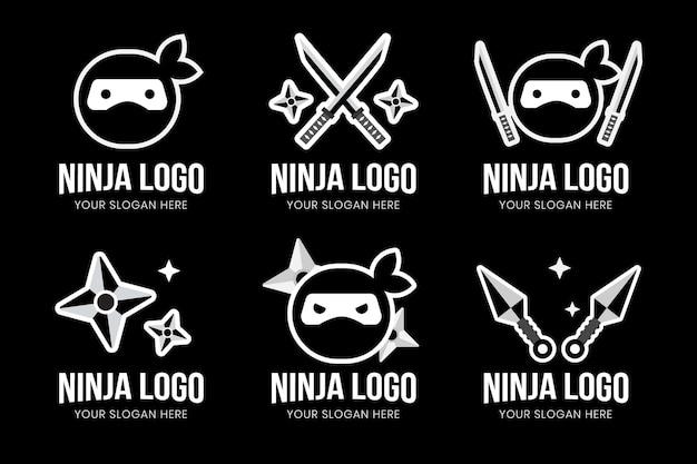Logo ninja w płaskiej konstrukcji