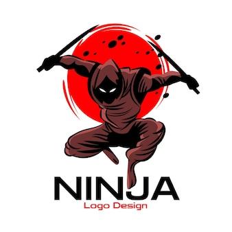 Logo ninja z różnymi szczegółami