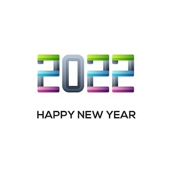 Logo nowego roku 2022 z kolorowym gradientem. szablon projektu wektorowego