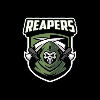 Logo nowoczesnej maskotki grim reaper