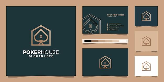 Logo nowoczesny poker house dla budownictwa, domu, nieruchomości, budynku, nieruchomości. minimalny niesamowity modny szablon profesjonalnego logo i projekt wizytówki