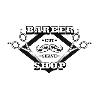 Logo nożyczek fryzjerskich z wąsami i próbką tekstu