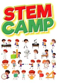 Logo obozu macierzystego i zestaw dzieci z obiektami edukacyjnymi na białym tle