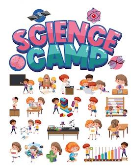 Logo obozu naukowego i zestaw dzieci z obiektami edukacyjnymi na białym tle