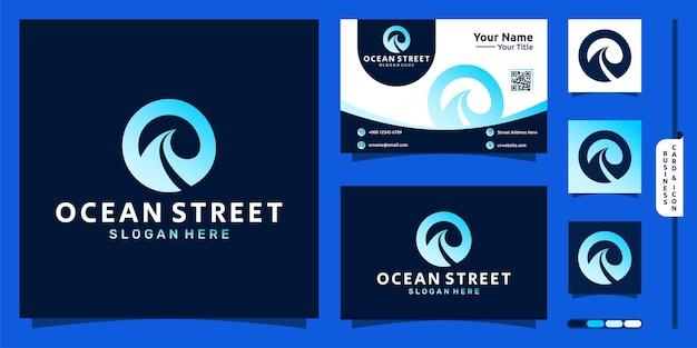 Logo oceanu z koncepcją ulicy i projektem wizytówki wektor premium