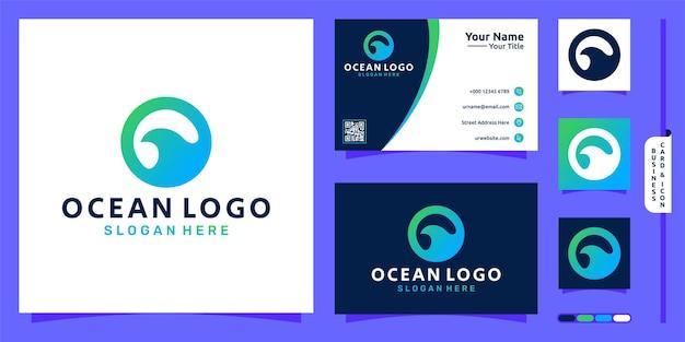 Logo oceanu z prostą koncepcją fali i projektem wizytówki wektor premium