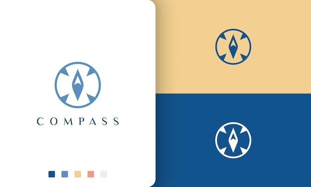 Logo odkrywcy lub przygody o prostym i nowoczesnym kształcie kompasu