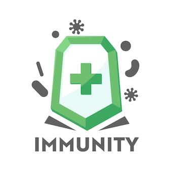 Logo odporności dla służby zdrowia, ikona obrony opieki zdrowotnej tarcza medyczna przed atakiem bakteryjnym. zdrowa koncepcja