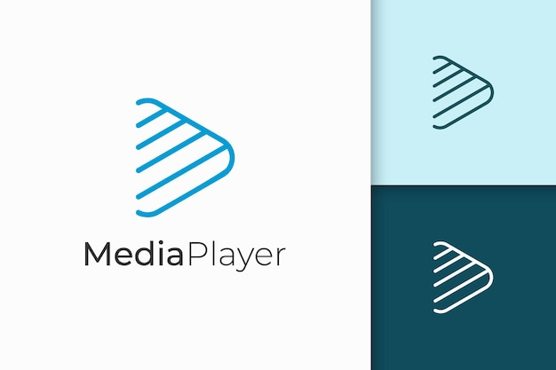 Logo odtwarzacza multimedialnego w prostym i nowoczesnym kształcie gry liniowej