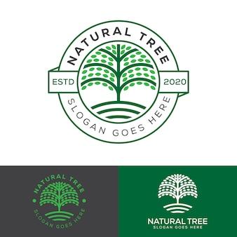 Logo odznaka drzewa naturalnego gospodarstwa, szablon wektor logo edukacji roślin
