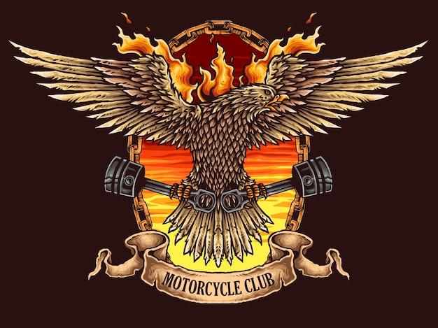 Logo odznaka motocykl orzeł
