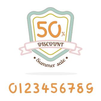 Logo odznaki sprzedaży liny, premia: numer 0-9 dla procentowej sprzedaży dokonanej przez ciebie, element marketingowy