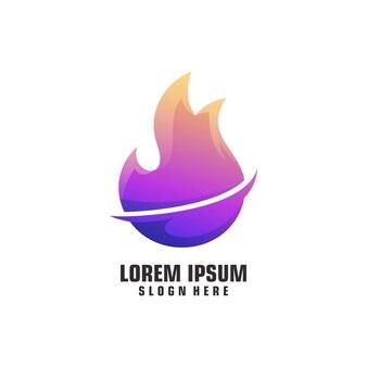 Logo ognia ilustracja kolorowy gradient