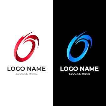 Logo ognia litery o, litera o i ogień, logo kombinowane z 3d czerwonym i niebieskim stylem kolorystycznym