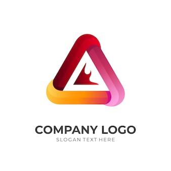 Logo ognia, ogień i trójkąt, logo kombinacji z kolorowym stylem 3d