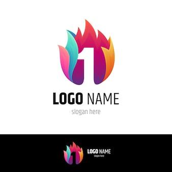 Logo ognia w kształcie cyfry 1