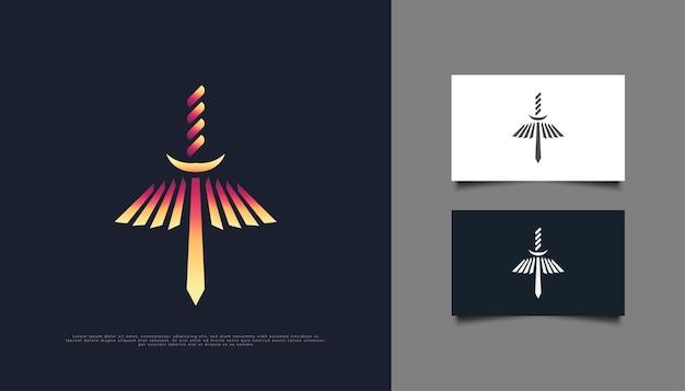 Logo ognistego miecza z płonącymi skrzydłami. projektowanie logo płonącego ostrza