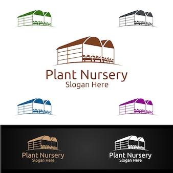 Logo ogrodnika szkółki roślin z zielonym ogrodem lub roślinami botanicznymi