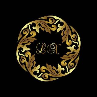 Logo okrągły złoty ornament rama
