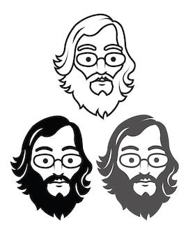 Logo old geek cartoon