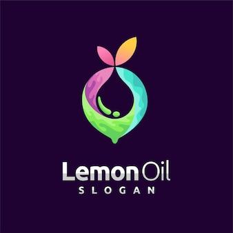 Logo olejku cytrynowego z elementem kropelkowym