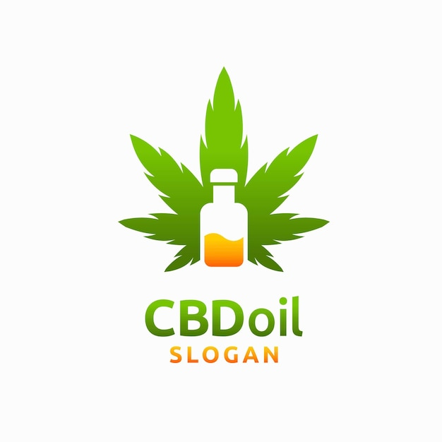 Logo oleju konopnego z koncepcją butelki
