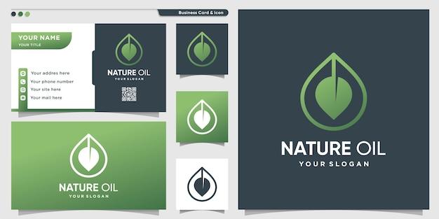 Logo oleju natury z nowoczesnym luksusowym stylem gradientu i szablonem wizytówki
