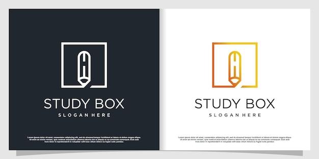 Logo ołówek z nowoczesną koncepcją abstrakcyjną premium wektor