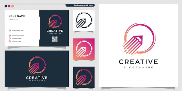 Logo ołówka w stylu rakiety i szablonu projektu wizytówki