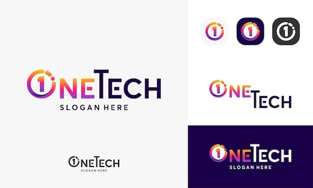 Logo one tech, logo technologii pixel projektuje wektor koncepcyjny, symbol logo sieci internet, logo digital wire