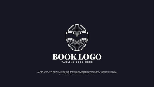 Logo open book z koncepcją liniową w stylu vintage.