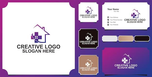Logo opieki domowej logo i wizytówka opieki zdrowotnej