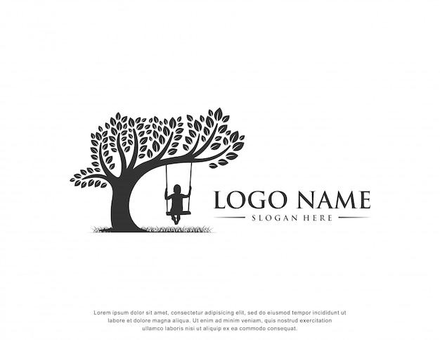 Logo opieki nad dziećmi isnpiration płaska