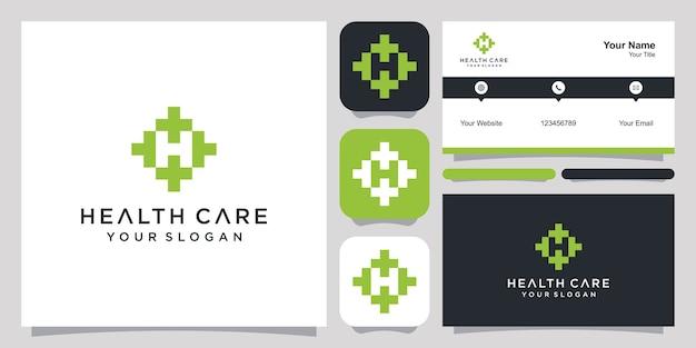 Logo opieki zdrowotnej z negatywną przestrzenią literą h i szablonem wizytówki