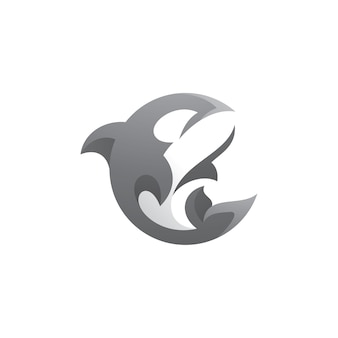Logo Orca Killer Whale Premium Wektorów