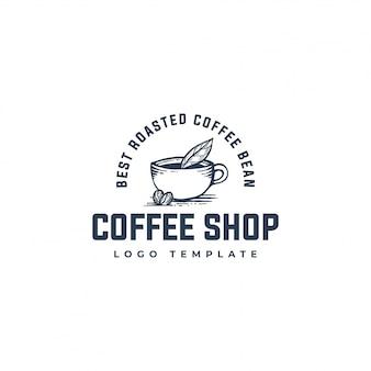 Logo organicznych ziaren kawy