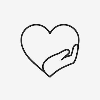 Logo organizacji charytatywnej, ręce wspierające serce ikona ilustracja wektorowa płaska konstrukcja