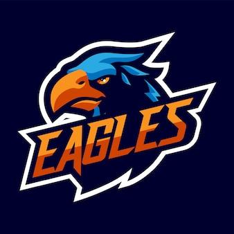 Logo orła głowy maskotka dla sportu i e-sportu na białym tle