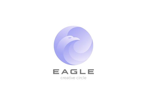 Logo orła koło abstrakcyjny wzór. logotyp falcon hawk