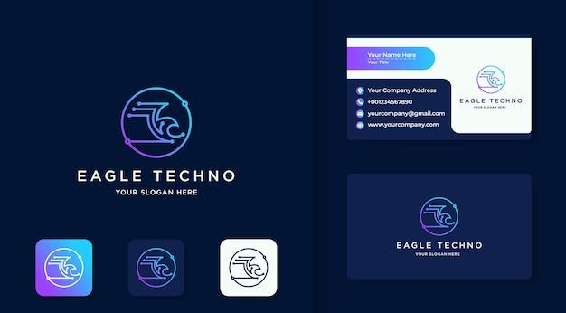 Logo orła technologii z koncepcją linii obwodu i projektem wizytówki